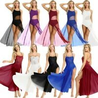 Lyrical Women Dance Dress Sequine Modern Ballet Leotard Bodysuit Mesh Maxi Skirt