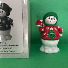 Nib Precious Moments Lighted Musical Snowman In Ugly Sweater Plays Jingle Bells