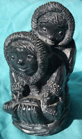 HAND CARVED SOAPSTONE INUIT ESKIMO ART SCULPTURE BY AL WOLF CHILDREN SLED