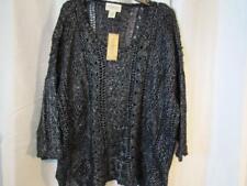 NWT Denim & Supply Ralph Lauren XL Blk Silver Metallic Sweater 3/4 Sleeve Org$98