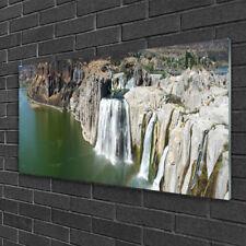 Glasbilder 100x50 Wandbild Druck auf Glas Gebirge Wasserfall See Landschaft