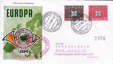 Italien 1149-50 FDC, CEPT 1963, rückseitig Zusatzfrankatur, echt gelaufen
