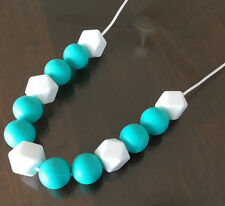 Teething Necklace Nursery Sensory Baby Showers Sillicone Beads Turquoise White