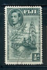 FIJI 117c SG249a Used 1941 1/2p KGVI Outrigger Canoe Perf 14 Cat$6