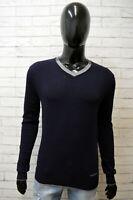 Calvin Klein Maglione Uomo Taglia S Cardigan Pullover Lana Blu Maglia Sweater