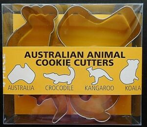 Set of 4 Fox Run Metal Australian Animals Cookie Cutters