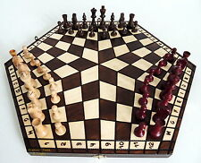 BRAND NEW LARGE HANDCRAFTED THREE PLAYER WOODEN CHESS SET 54CM WITH RULES