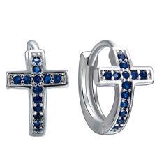 Chic 925 Silver Filled Cross Sapphire Quartz Topaz Stud For Women's Earring