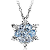 Princess Solid 925 Sterling Silver Blue Zircon Snowflake Necklace Pendant GIFT