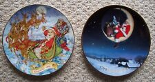 2 Vintage 1993 and 1998 Avon Christmas Collector Plates 22Kt Gold Rim