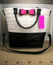 Betsey Johnson Be My Honey Buns Tote Purse Quilted Heart Black Bone Faux Leather