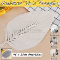 Macrame Woven Feather Wall Hanging Handmade Leaf Tapestry Room Home Decoration