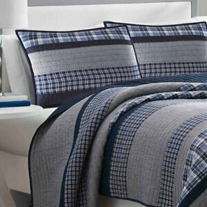 Adleson by Nautica Single Reversible Quilt Twin Navy Grey Standard Cotton 136 TC