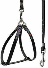 Faux Leather Confetti Step-In Dog Harness and Leash Combo