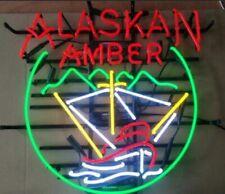"Alaskan Amber Brewing Beer Neon Light Lamp Sign 32""x24"" Beer Glass Bar Decor"