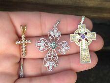 Lot of 3 Sterling / Vermeil Emerald, White Topaz, Amethyst & CZ Cross Pendants