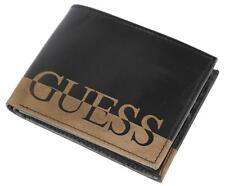 NEW GUESS MEN'S LEATHER ANSEL BILLFOLD CREDIT CARD ID WALLET BLACK 31GU130003