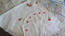 "NAPPE RONDE coton/lin 145cm + 7 serv. BRODEES ""fraises"", état neuf"