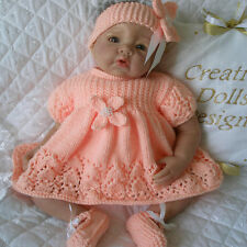 """BABY DOLLS KNITTING PATTERN DRESS SET FOR 20""""-22"""" DOLL O-3 MONTH BABY"""