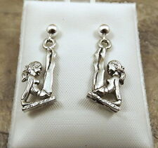 Pewter GYMNAST Charms on Sterling Silver 4mm Ball Post Stud Earrings - 5462