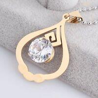 Damen Halskette Edelstahl Gold Anhänger Kette Schmuck Zirkonia Stein Geschenk