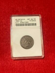 1853  ½ CENT  1/2C  BRAIDED HAIR.  ANACS DETAILS  NET AU 50.  C-1 SCRATCHED