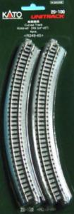 "GENUINE KATO UNITRACK 20-100 R249-45Deg CURVED TRACK 4pcs R9 3/4"" New&Packaged"