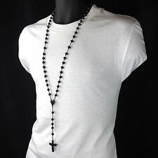 Men's Hip Hop 8mm BLACK Beads Diamond-Shape Rosary & Jesus Cross Necklace BK