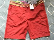 "ROBERT GRAHAM ""Tahiti"" RED Zipper Fly SWIMSUIT / BOARD SHORTS sz 38 NWT Ret $148"