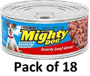 (18) Purina Mighty Dog Protein Packed Hearty Beef Dinner Wet Dog Food 5.5 Oz