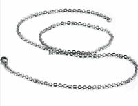 2MM/3MM Mens Womens Chain Oval Shape Link Silver Tone Stainless Steel Necklace