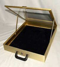 Allstate Jewelry Display Case 22x17x3 in Gold Finish With Black Velvet Pad Liner