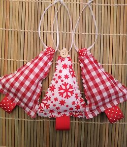 3 Christmas Tree fabric hanging decorations scandi style gingham snowflake red
