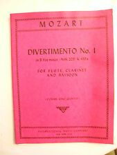 Partition Mozart Divertimento N°1 flute Clarinette basson