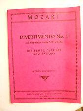 Partitur Mozart Divertimento N°1 flöte Klarinette, fagott
