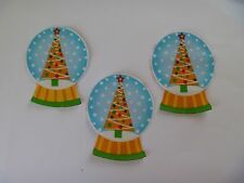 3 Iron On Fabric Appliques Xmas Snow Balls Yellow Xmas Tree Star  - Handcut
