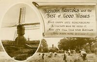 Birthday Greetings postcard [Windmill Harvesting] (Rotary Photo, A.1913-I) 1910s