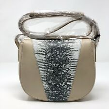 Vince Modern V Lizard Embossed Leather Crossbody Bag Sand Nwt $325