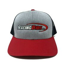 RacingBids.Com Grey Base with Black Mesh and Red Bill Snapback Trucker Hat