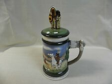 """New listing Indian Scene Hand Painted 10"""" Ceramic Stein Horse Tent Axe Handle Figurine Lid"""