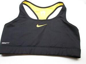 NIKE Women Sport Bra Size L Wireless Fitted Black Yellow