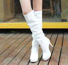 Women's Stiletto Poinged Toe Platform Mid-Calf Boot High Heel Shoes Lace Up @