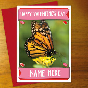 BUTTERFLY Personalised VALENTINE'S DAY Card - personalized anniversary romantic