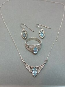 Sterling Silver 925 Aquamarine 3-piece Jewelry Set Necklace Ring Earrings