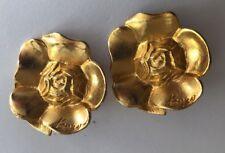Vintage 90s Kenzo Designer Gold Clip Earrings