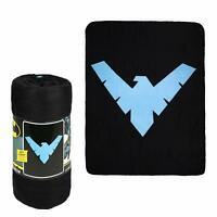 DC Comics Batman Nightwing Arkham Knight Superhero Logo Fleece Throw Blanket