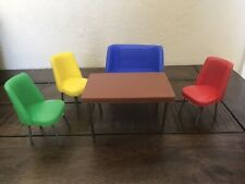 1960's Table And Chairs For Topper Toys Dawn Dolls Plus 2 Extra Wooden Chairs!
