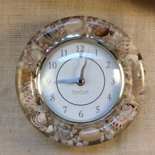 """Wall Clock Unique Clear Laquered Seashells by Firs Time 8"""" Beach �"""