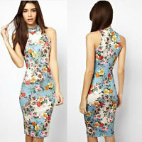 Women Ladies Sleeveless Floral Midi Pencil Bodycon Evening Party Dress Size S-XL
