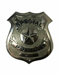 Silver Metal Police Badge Kids Adults Cop Costume Fancy Dress Party Accessories